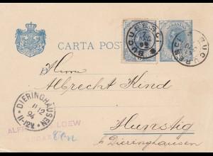 Rumänien: 1894: Bucaresti nach Hunstig