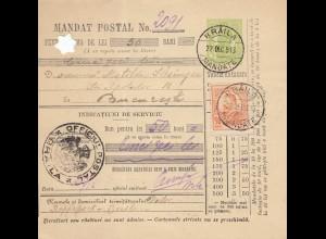 Rumänien: 1913: Braila nach Bucaresti Mandat Postal