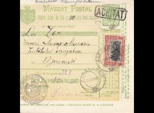 Rumänien: Mandat Postal Alexandria nach Bucaresti 13.03.1907