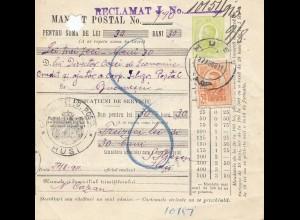 Rumänien: 1911: Mandat Postal Hus nach Bucaresti