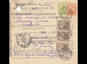 Rumänien: 1913: Mandat Postal Bucaresti nach Constanta