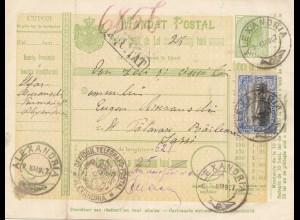 Rumänien: 1907: Mandat Postal Alexandria nach Lassy