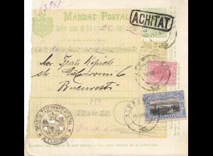 Rumänien: Mandat Postal Alexandria nach Bucaresti 14.03.1907