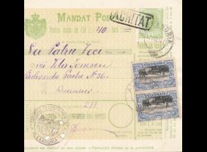 Rumänien: 12.03.1907: Mandat Postal Alexandria nach Bucaresti