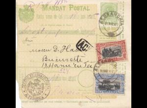 Rumänien: Mandat Postal 21.03.1907 Alexandria nach Bucaresti