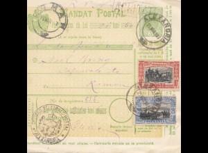 Rumänien: 1907: Mandat Postal Alexandria nach Romana