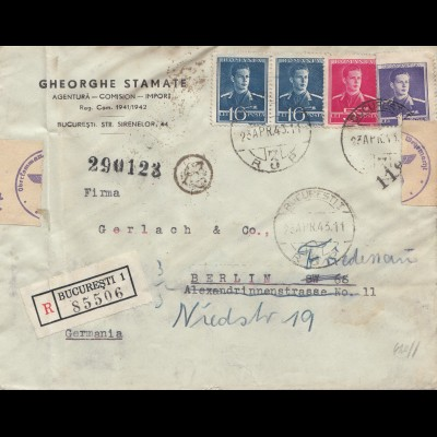 Rumänien: 1943: Einschreiben Bucuresti nach Berlin, Zensur