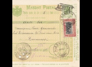 Rumänien: 15.03.1907: Mandat Postal Alexandria nach Bucaresti