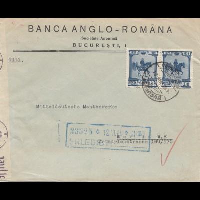 Rumänien: 1940: Bucuresti nach Berlin - Zensur, Perfin