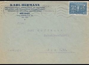 Rumänien: 1938: Brief Brasov nach Aue