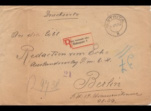 Rumänien: 1922: Einschreiben Bistrita- DRUCKSACHE über Bahnpost, nach Berlin
