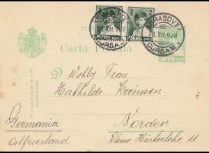 Rumänien: 1928: Ganzsache Abrasovia nach Norden