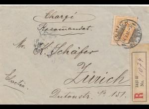 Rumänien: 1911: Einscheiben Lasi nach Zürich
