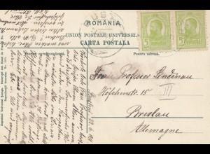 Rumänien: 1911: Ansichtskarte Busteni nach Breslau