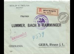 Rumänien: 1915: Einschreiben Bucureti nach Gera