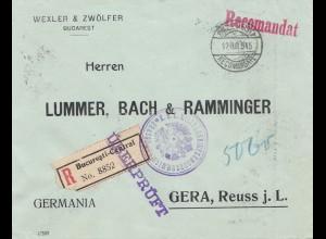 Rumänien: 1915: Einschreiben Bucaresti nach Gera- Überprüft