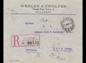 Rumänien: 1927: Einschreiben Bucuresti nach Gera