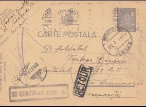 Rumänien: 1943: Carte Postala Bucuresti, Zensur