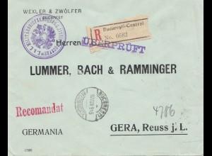 Rumänien: 1915: Einschreiben Bucuresti nach Gear, überprüft