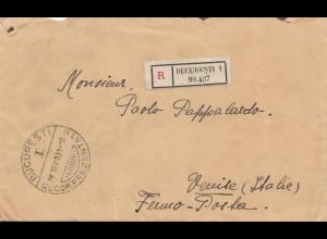 Rumänien: Einschreiben 1931 Bucuresti nach Italien
