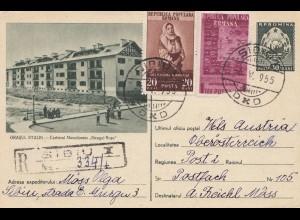 Rumänien: 1955: Ganzsache Einschreiben Sibiu nach Österreich
