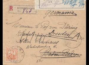Rumänien: 1914: Einschreiben Bucuresti nach Dresden, Beschädigt eingegangen