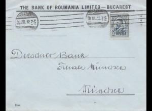Rumänien: 1912: Bucarest nach München, Dresdner Bank, Perfin