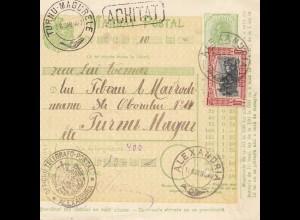 Rumänien: 1907: Mandat Postal Alexandria nach Turnu Magur