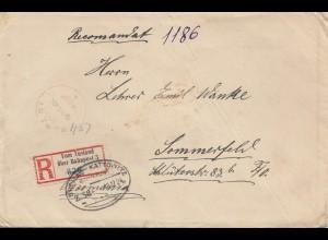 Rumänien: 1924: Einschreiben nach Sommerfeld, Bahnpost