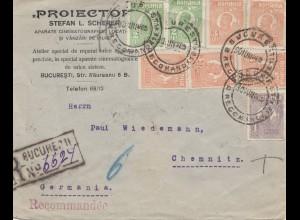 Rumänien: 1925: Einschreiben Bucuresti nach Chemnitz
