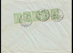 Rumänien: 1928: Bucuresti nach Berlin - Deutsche Bank, Perfin
