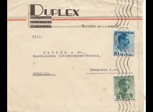 Rumänien: 1939: Duplex Bucuresti nach Rosswein