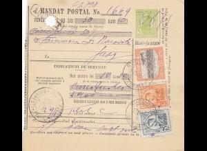 Rumänien: 1913: Mandat Postal Bucuresti nach Jassy