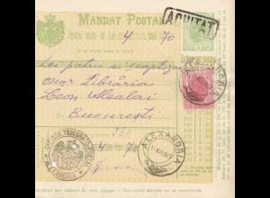 Rumänien: 14.03.1907: Mandat Postal Alexandria nach Bucaresti