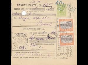Rumänien: 1913: Mandat Postal Bucuresti nach Bedeal