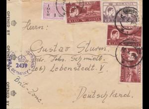 Rumänien: 1948: Brief nach Lebenstedt, Zensur Brit. Zone