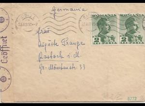 Rumänien: 1940: Brief aus Sibiu nach Rostock