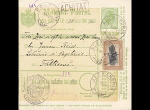 Rumänien: 1907: Mandat Postal Alexandria nach Falticeni
