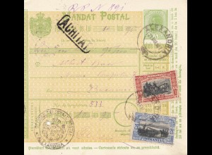Rumänien: 21.03.1907: Mandat Postal Alexandria nach Bucaresti