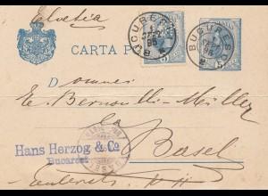 Rumänien: 1895: Postkarte Buouresci nach Basel, Perfin