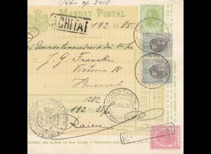 Rumänien: 1907: Mandat Postal Constanta nach Bucuresti
