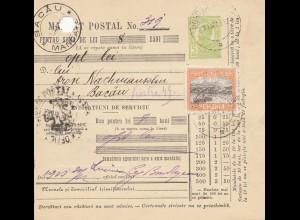 Rumänien: 1913: Mandat Postal nach Bacau