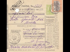 Rumänien: 1913: Mandat Postal Bucuresti nach Braila