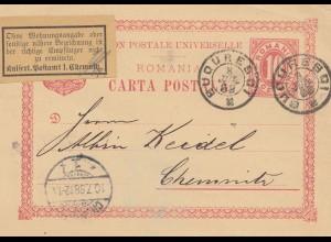 Rumänien: 1898: Ganzsache Buouresdi nach Chemnitz, Ohne Wohnung nicht zu ermitt.