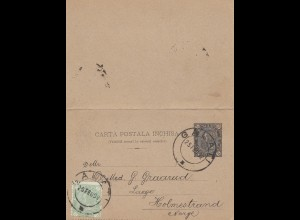 Rumänien: 1892: Ganzsache Galati nach Norwegen