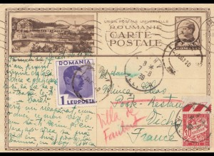 Rumänien: 1939: Ganzsache nach Frankreich