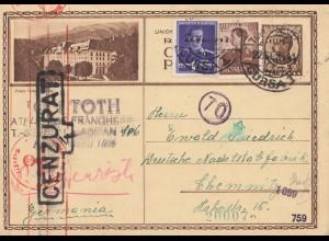 Rumänien: 1941: Ganzsache nach Chemnitz, Zensur