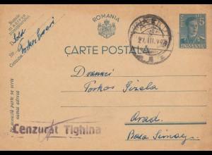 Rumänien: 1942: Ganzsache nach Orad, Zensur