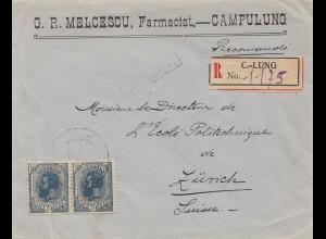 Rumänien: 1919: Einschreiben Campulung nach Zürich