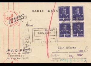 Rumänien: 1941: Bucuresti nach Mähren/Zlin, Zensur